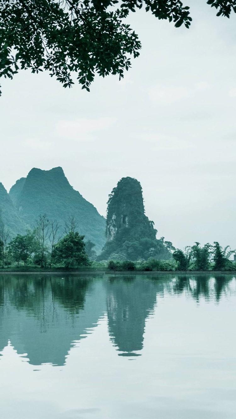 China, beautiful nature landscape, lake, mountains, trees 21x21 ...