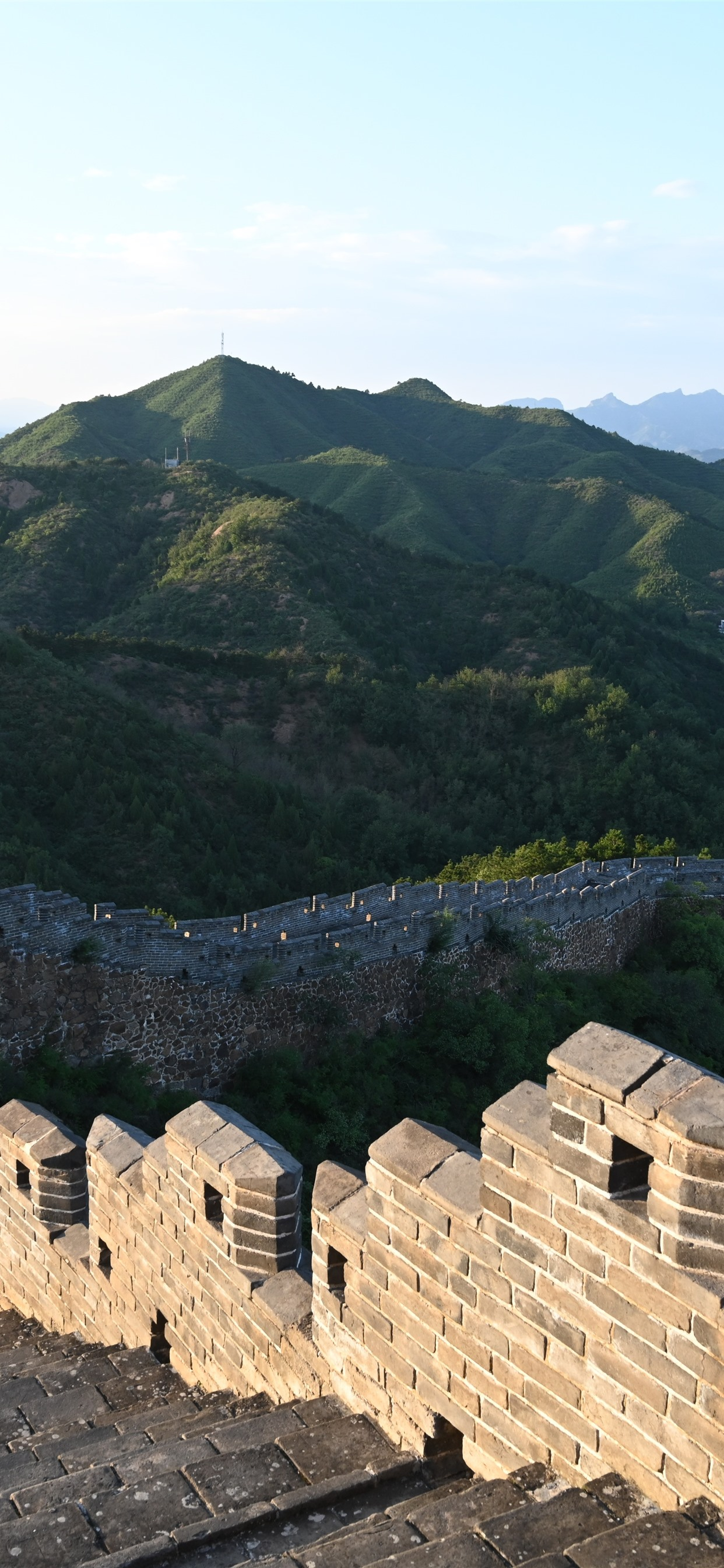 Chinese Travel Place Great Wall Steps Ruins Mountains