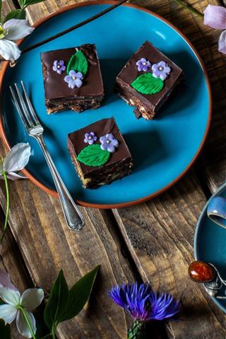 iPhone Wallpaper Chocolate cakes, dessert, flowers, coffee