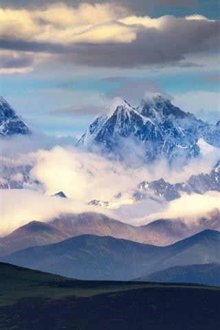 iPhone Wallpaper Chuanxi beautiful nature landscape, mountains, clouds