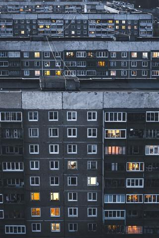iPhone Wallpaper City night, buildings, houses, windows