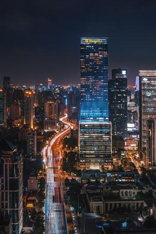 iPhone Wallpaper City night, buildings, lights