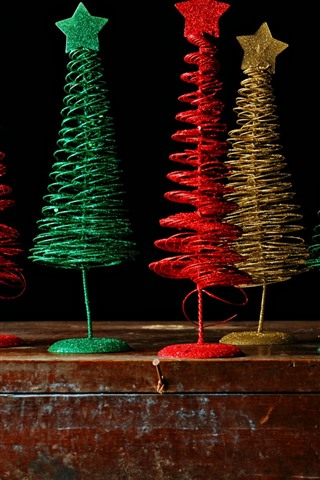 iPhone Wallpaper Colorful Christmas trees, toy