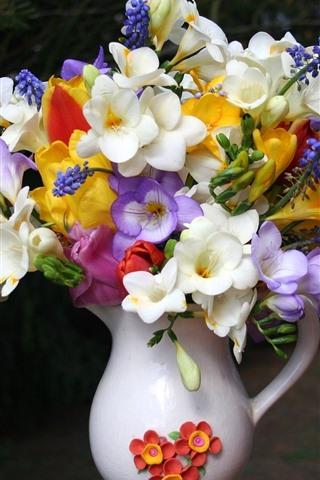 iPhone Wallpaper Colorful flowers, bouquet, vase