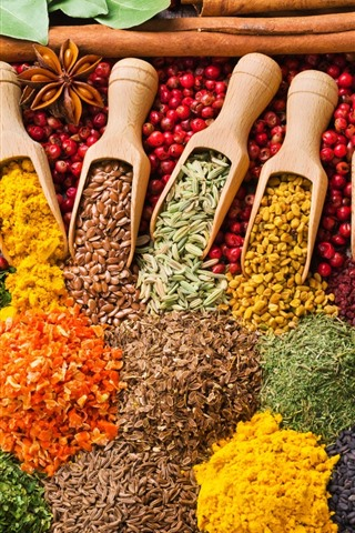 iPhone Wallpaper Colorful grains, mustard, curry, spices