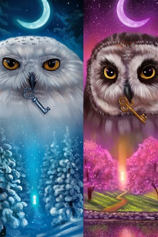 iPhone Wallpaper Colorful owls, four season, art picture