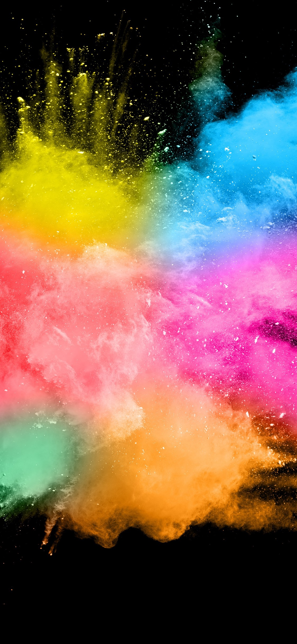 Colorful Smoke Splash Abstract Black Background 1242x2688