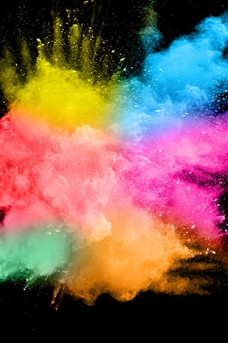 iPhone Wallpaper Colorful smoke, splash, abstract, black background