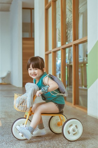 Cute Little Girl Play Toy Bike Child 1125x2436 Iphone Xs X