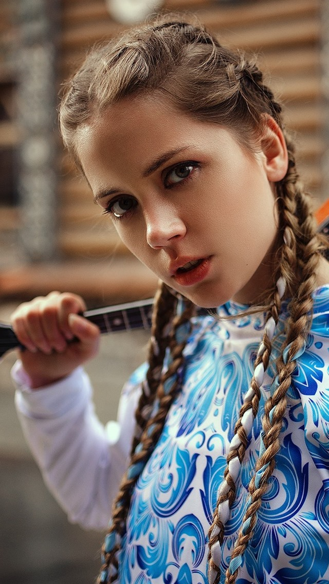 Cute young girl, braids, music 640x1136 iPhone 5/5S/5C/SE ...
