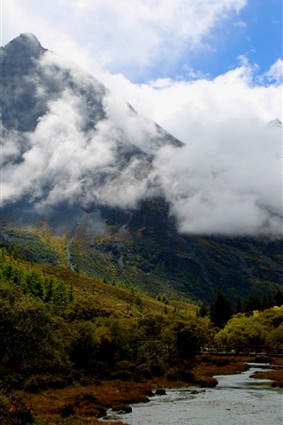 iPhone Wallpaper Daocheng Yading Scenic Area, China, mountains, trees, river, clouds, autumn