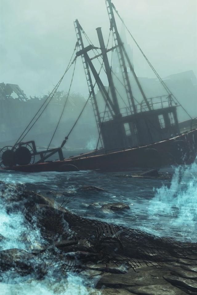 Fallout 4 Far Harbor Boat Sea Storm 640x960 Iphone 4 4s