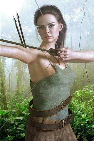 iPhone Wallpaper Fantasy girl, archer, bow, jungle