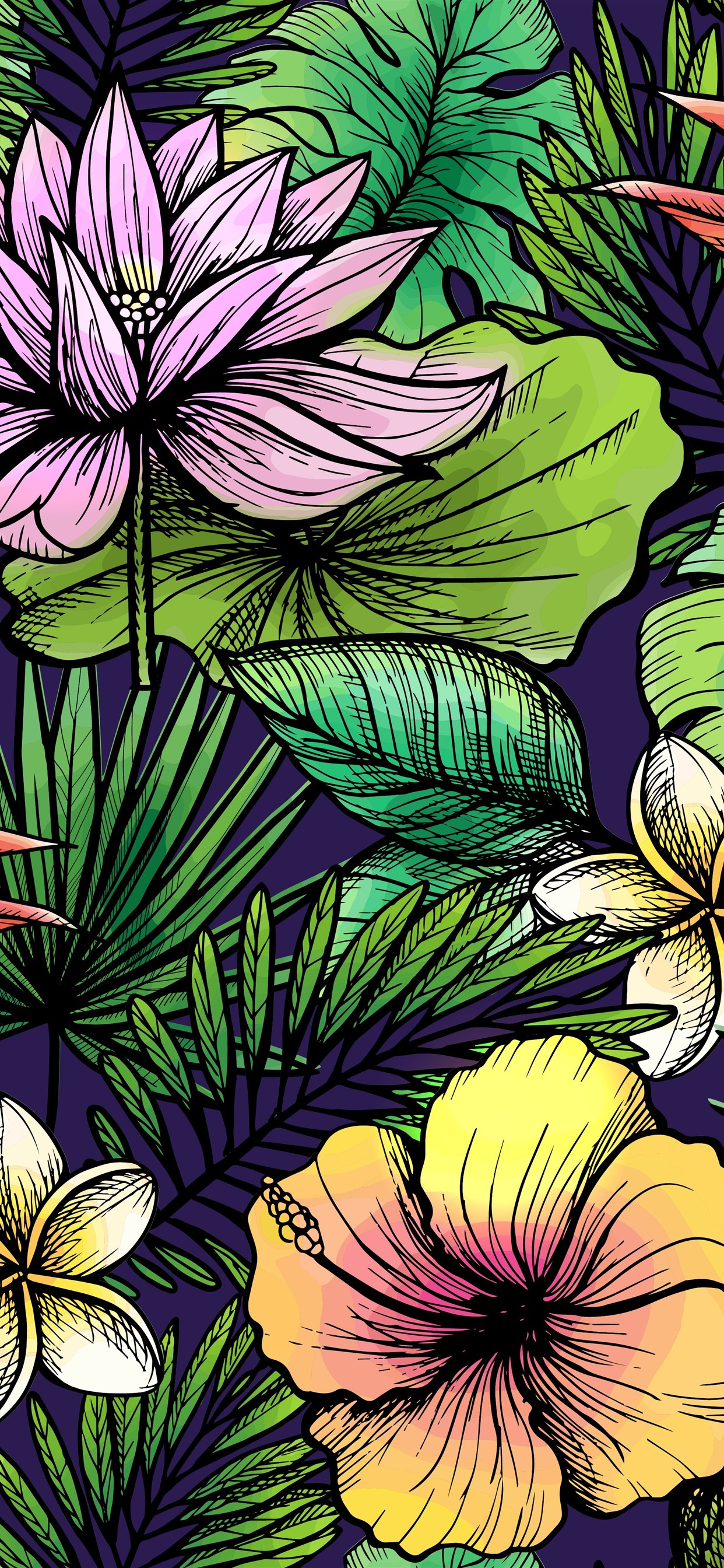 Flowers And Leaves, Art Texture Background 1242x2688