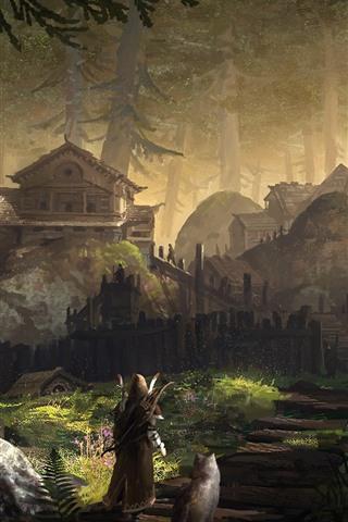 iPhone Papéis de Parede Floresta, aldeia, arqueiro, lobo, pintura de arte