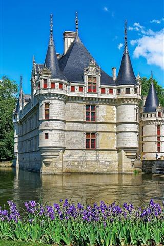 iPhone Wallpaper France, castle, purple flowers, water