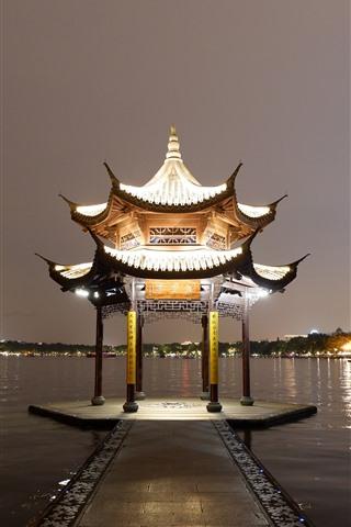 iPhone Wallpaper Gazebo, lake, night, lights, China