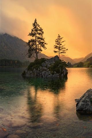 iPhone Wallpaper Germany, Bayern, lake, rocks, trees, dusk