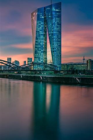 iPhone Wallpaper Germany, Frankfurt, Hesse, European Central Bank, river, bridge, dusk
