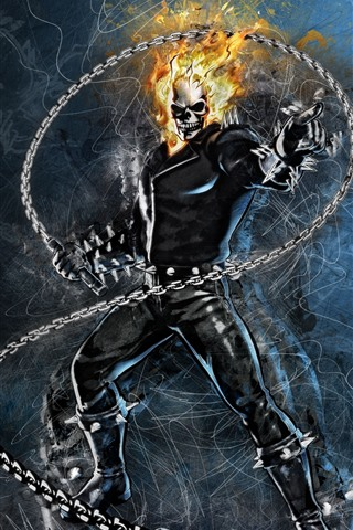 iPhone Wallpaper Ghost Rider, Marvel, DC comics, art picture
