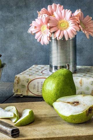 iPhone Wallpaper Green pears, gerbera, book, cut board, knife