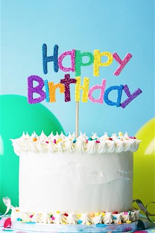 iPhone Wallpaper Happy Birthday, cake, hat, balloon, ribbon