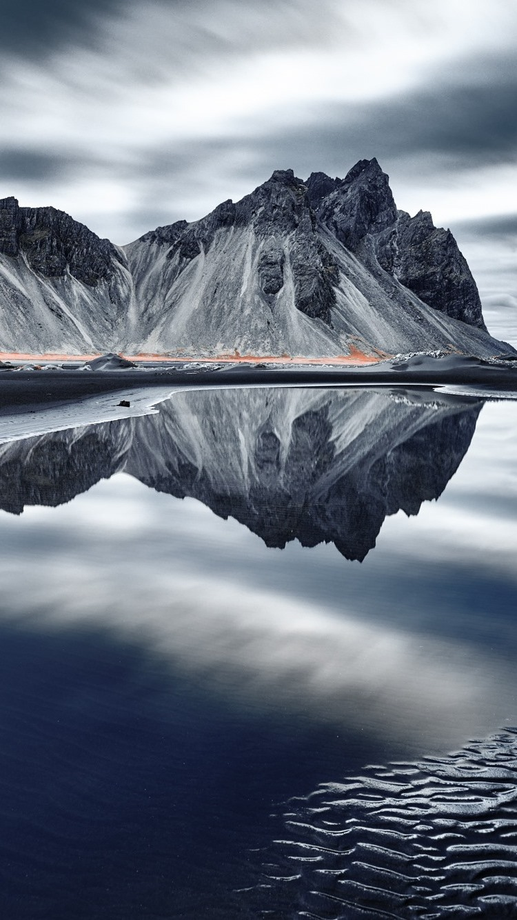 Iceland mountains sea coast water reflection clouds - Iceland iphone wallpaper ...
