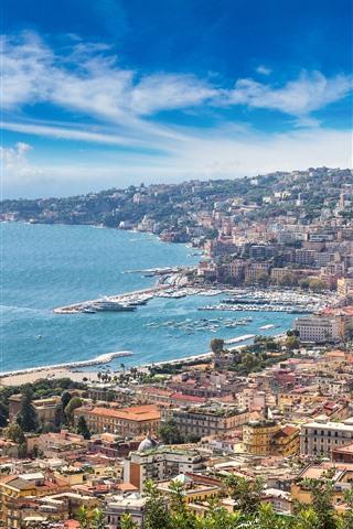 iPhone Wallpaper Italy, Naples, Sorrento, city view, coast, sea