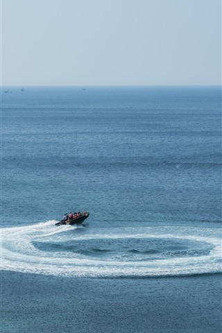 iPhone Wallpaper Jeju Island, beautiful sea, boat