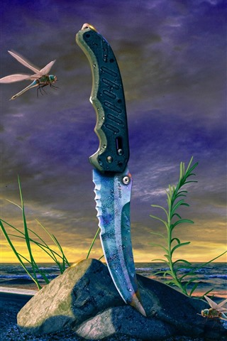 iPhone Wallpaper Knife, dragonfly, grass, sea, clouds, dusk