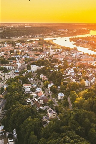 iPhone Wallpaper Lithuania, Kaunas, cityscape, top view, sunset