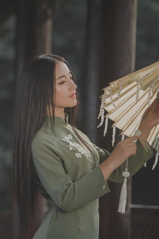 iPhone Wallpaper Long hair girl, Chinese, retro style, umbrella