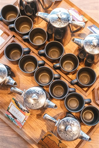 iPhone Wallpaper Many cups, coffee, bread