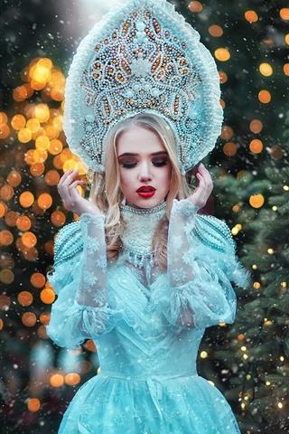iPhone Papéis de Parede Menina modelo, saia azul princesa, nevado