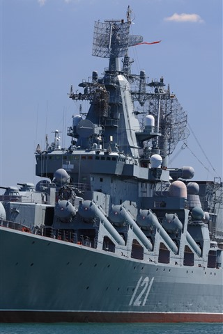 iPhone Wallpaper Moscow, missile cruiser, sea, army