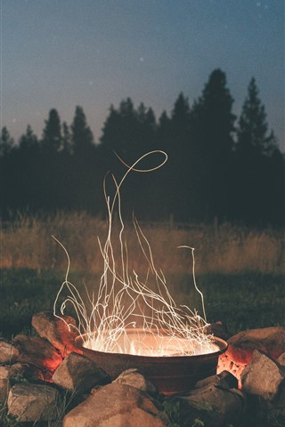 iPhone Wallpaper Night, stones, fire, sparks