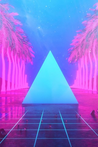 iPhone Wallpaper Palm trees, triangle, neon, art design