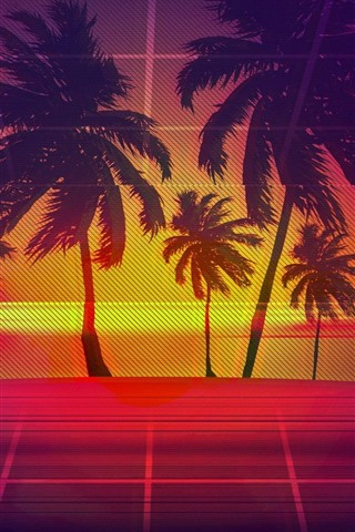 iPhone Wallpaper Palm trees, wire fence, art picture