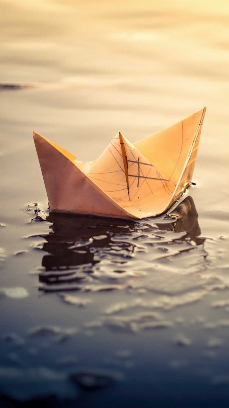 Paper Boat Puddle 750x1334 Iphone 8766s Wallpaper