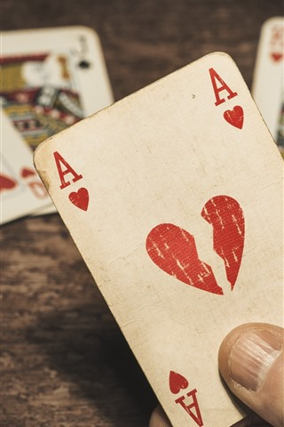 iPhone Wallpaper Play cards, A, love heart
