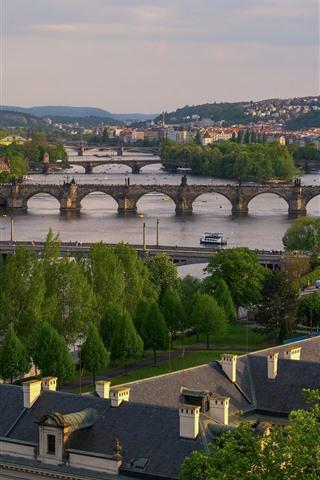 iPhone Wallpaper Prague, Czech Republic, river, bridges, city, houses