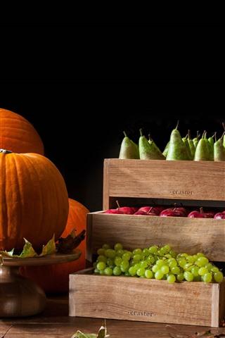 iPhone Wallpaper Pumpkin, grapes, apples, pears, fruit