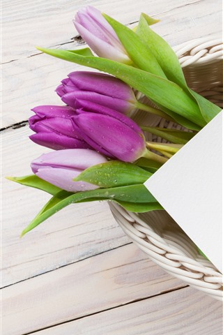 iPhone Wallpaper Purple tulips, colorful eggs, basket, Easter