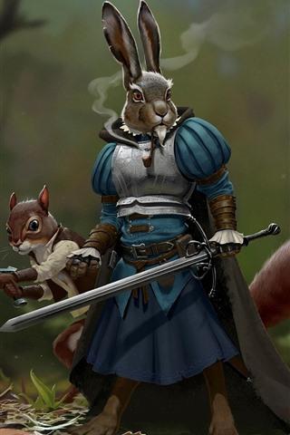 iPhone Wallpaper Rabbit warrior, sword, armor, creative picture