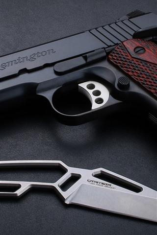 iPhone Wallpaper Remington M1911 pistol, gun, knife, weapon