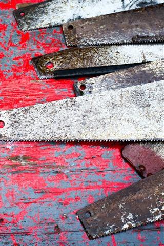 iPhone Wallpaper Saws, rust, tools