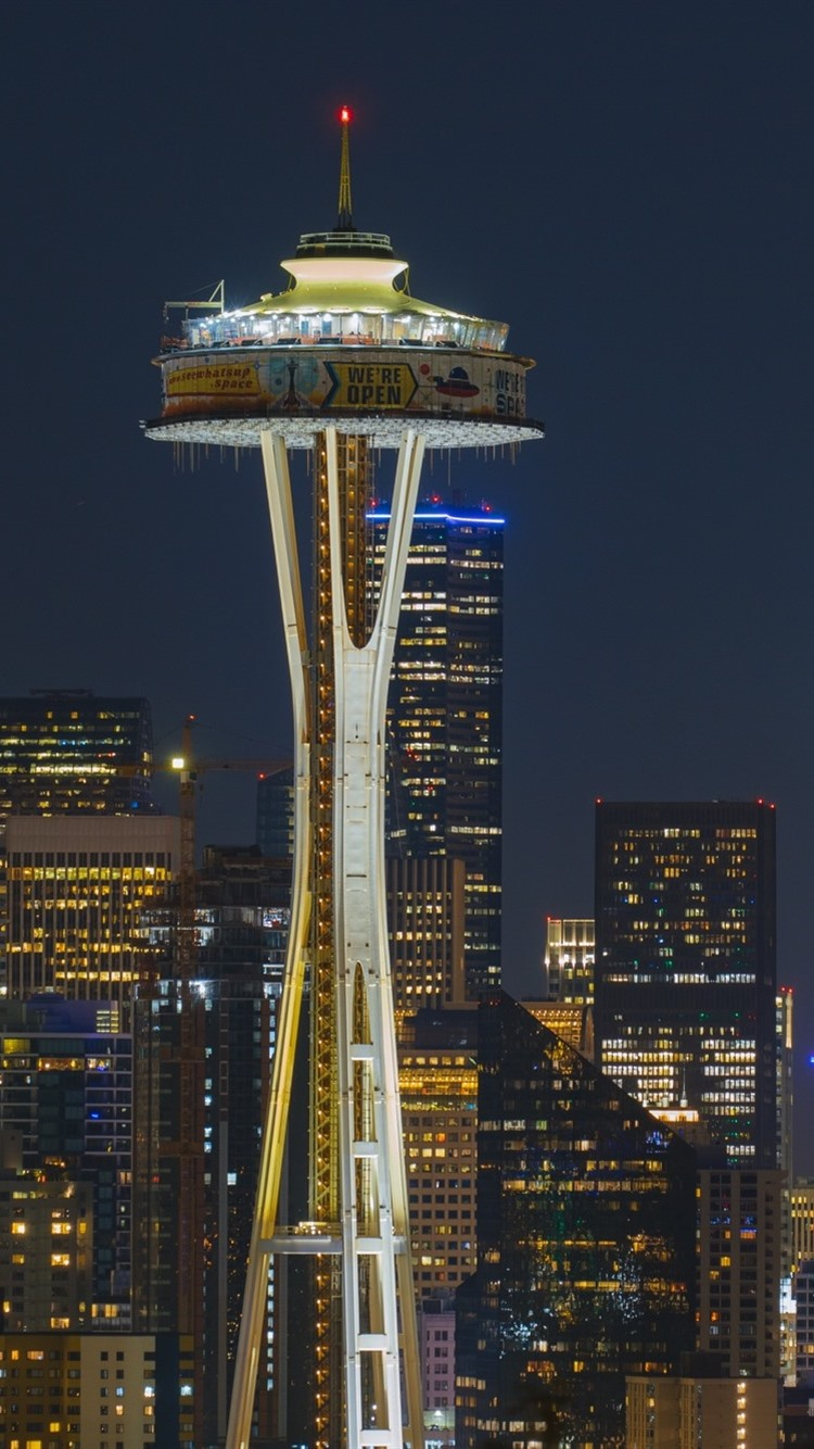Wallpaper Seattle City At Night Buildings Tower Lights Usa 1920x1200 Hd Picture Image