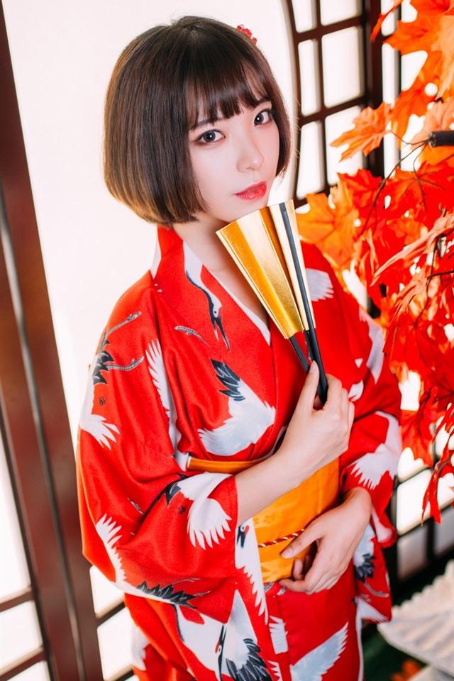 Wallpaper Short Hair Japanese Girl Kimono Red Maple