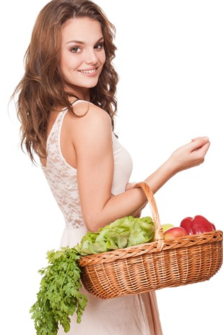 iPhone Wallpaper Smile girl look back, basket, vegetables, white background
