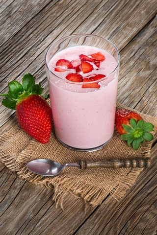 iPhone Wallpaper Smoothies, drink, strawberry